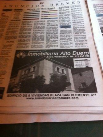 Inmobiliaria Alto Duero en el Diario de Soria